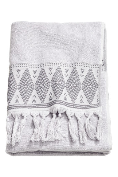 Bath towel with embroidery - Light grey - Home All | H&M CN