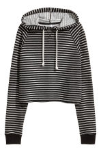 Cropped hooded top - Black/Striped - Ladies | H&M 2