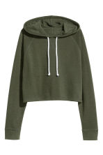 Cropped hooded top - Dark green - Ladies | H&M CN 2