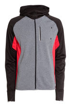 Hooded running jacket - Grey marl/Red - Men | H&M CN 2