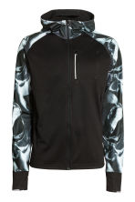 Hooded running jacket - Black/White/Patterned - Men | H&M CN 2