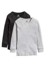 2-pack ribbed T-shirts - Grey marl -  | H&M 3