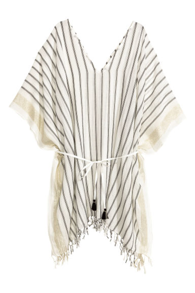 Cotton poncho - Natural white/Black/Striped - Ladies | H&M CN 1
