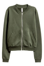 Sweatshirt jacket - Khaki green - Ladies | H&M CN 2