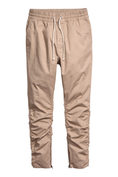 Cotton twill joggers - Beige -  | H&M IE