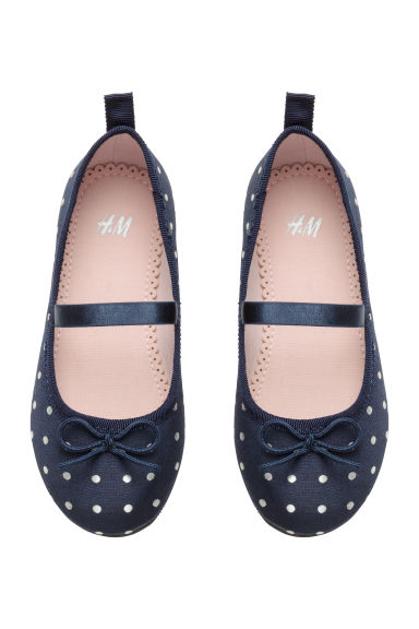 Ballet pumps with strap - Dark blue/Spotted - Kids | H&M 1