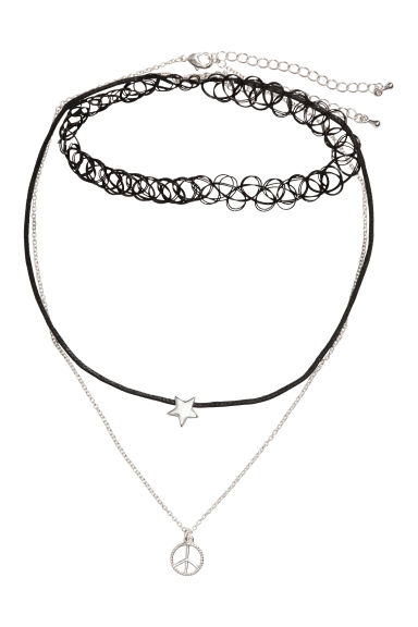 3-pack necklaces - Silver/Black -  | H&M 1