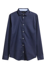 Premium cotton shirt - Navy blue - Men | H&M CN 2