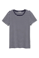 Cotton T-shirt - Dark blue/Striped - Ladies | H&M CA 2