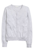 Fine-knit cotton cardigan - Light grey - Ladies | H&M 2