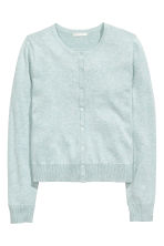 Fine-knit cotton cardigan - Light mint green marl - Ladies | H&M CN 2