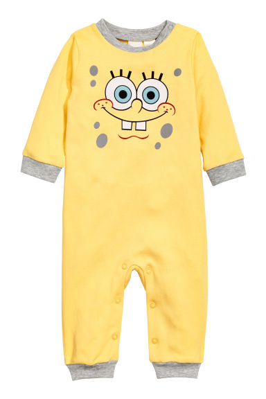 Printed all-in-one pyjamas - Yellow/Sponge bob - Kids | H&M