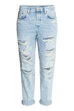 Boyfriend Low Ripped Jeans - 浅牛仔蓝 - 女士 | H&M CN 2