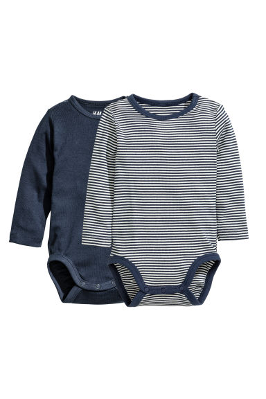 2-pack long-sleeved bodysuits - Dark blue -  | H&M 1