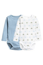 2-pack long-sleeved bodysuits - Blue - Kids | H&M CA 1