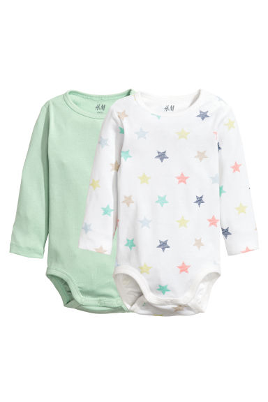 2-pack long-sleeved bodysuits - Light green - Kids | H&M 1