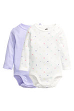 2-pack long-sleeved bodysuits - Lilac - Kids | H&M 1