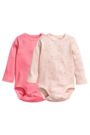 2件入長袖連身衣 - Powder pink/Hearts - Kids | H&M 1