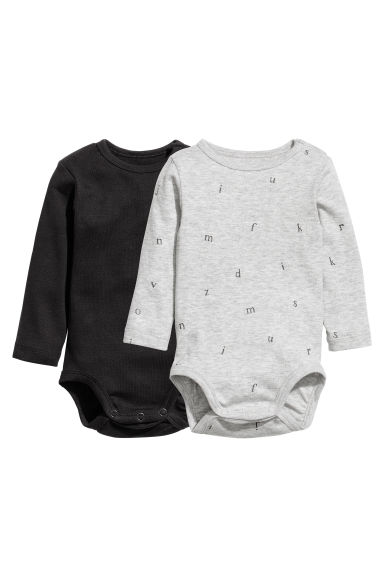 2-pack long-sleeved bodysuits - Grey/Letter - Kids | H&M CN 1