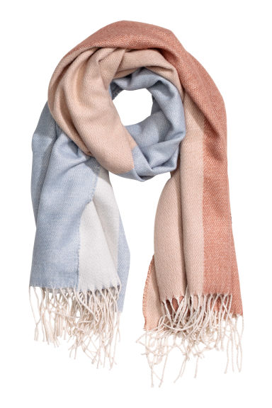 Block-patterned scarf - Light blue - Ladies | H&M CA 1