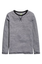 Long-sleeved T-shirt - Black/Narrow striped - Kids | H&M CN 2