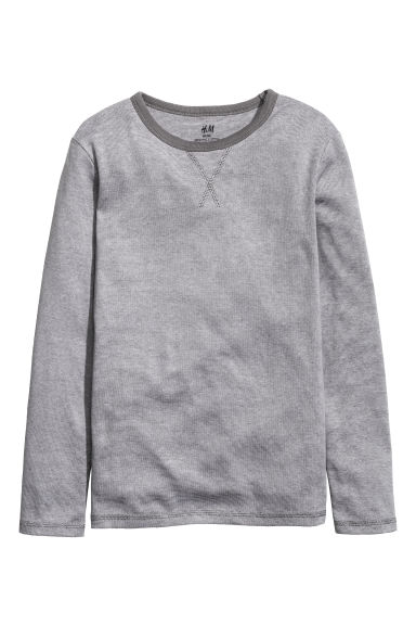 Long-sleeved T-shirt - Dark grey/Narrow striped -  | H&M 1