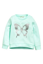 Printed sweatshirt - Mint green/Butterfly - Kids | H&M CN 2