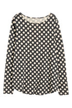 H&M+ Long-sleeved jersey top - Dark grey/Spotted - Ladies | H&M CN 2
