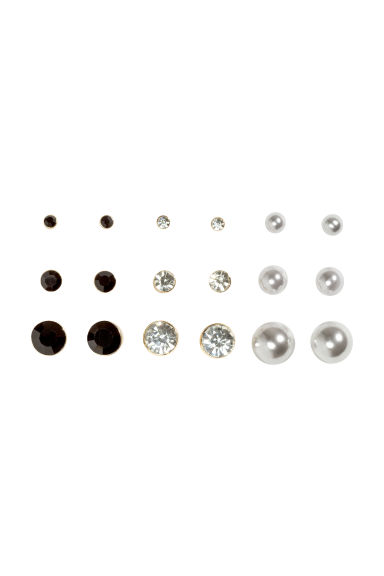 9-pack earrings - Black/White - Ladies | H&M