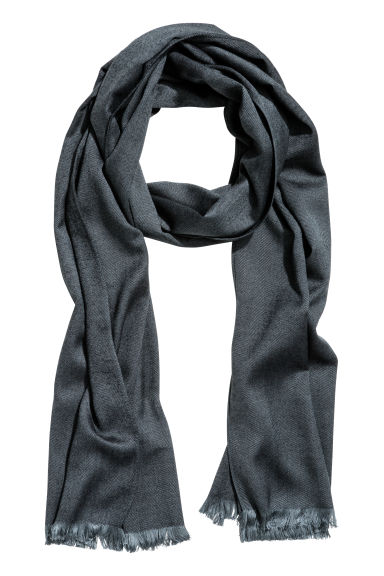Herringbone-patterned scarf - Black - Men | H&M CN 1