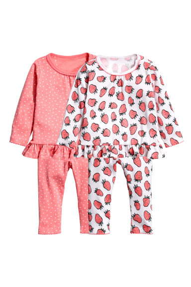 2-pack pyjamas - White/Strawberries - Kids | H&M CN 1