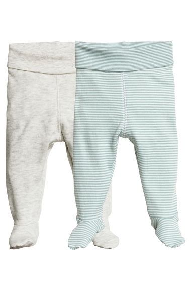 2-pack trousers with feet - Mint green/Striped -  | H&M 1
