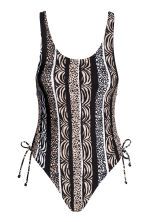 Swimsuit High leg - Black/Beige/Patterned - Ladies | H&M CN 2