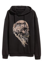 Printed hooded top - Black/Metallica - Men | H&M 2