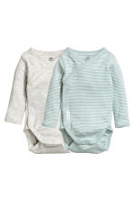 2-pack long-sleeved bodysuits - Mint green/Striped - Kids | H&M CN 1