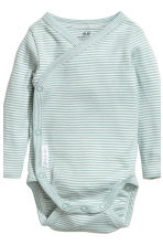 2-pack long-sleeved bodysuits - Mint green/Striped - Kids | H&M CN 3