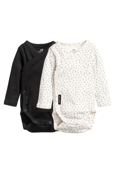 2-pack long-sleeved bodysuits - Black - Kids | H&M CN 1