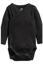 2-pack long-sleeved bodysuits - Black - Kids | H&M CN 3