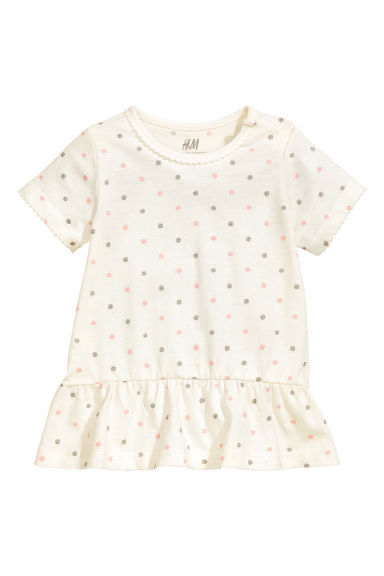 荷葉邊上衣 - Nat. white/Spotted - Kids | H&M 1