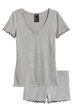 Pyjamas with shorts and top - Grey marl - Ladies | H&M 2