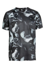 Short-sleeved running top - Black/White/Patterned - Men | H&M 2