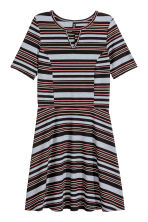 Ribbed jersey dress - Black/Grey/Striped - Ladies | H&M CN 2