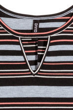 Ribbed jersey dress - Black/Grey/Striped - Ladies | H&M CN 3