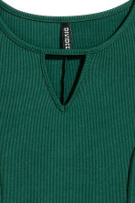 Ribbed jersey dress - Dark green - Ladies | H&M CN 3