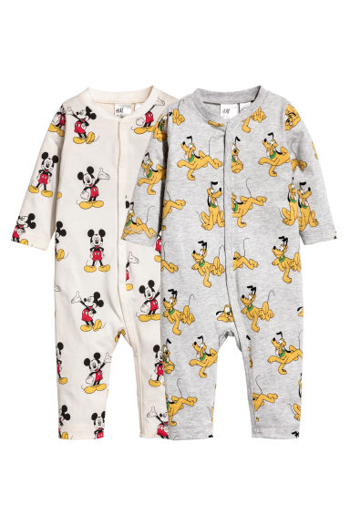 2-pack all-in-one pyjamas - Natural white/Mickey Mouse - Kids | H&M CN 1