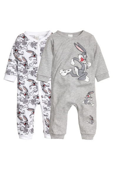 2-pack all-in-one pyjamas - White/Looney Tunes - Kids | H&M 1