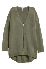 Zipped cardigan - Khaki green - Ladies | H&M 2
