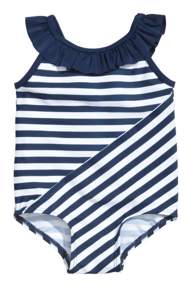 Patterned swimsuit - Dark blue/Striped -  | H&M 1