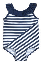 Patterned swimsuit - Dark blue/Striped - Kids | H&M 1