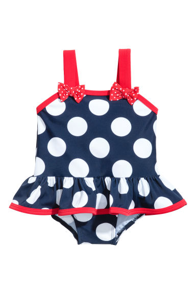 Swimsuit with a flounce - Dark blue/Spotted - Kids | H&M 1